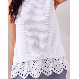 Loft White Sleeveless Sweater eyelet Trim M